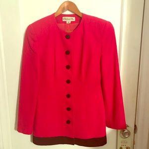 Christian Dior bright pink and black blazer size 8